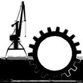 Bakgrund med hamnkranen — Stockvektor