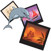 Dolphin and  photoframes — Stockvector