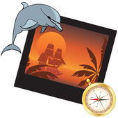 Dolphin, compass and  photoframe — Stockvector
