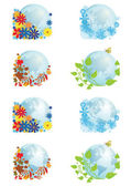 Set of globes four seasons — 图库矢量图片