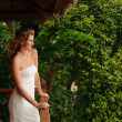Woman in white wedding dress — Stock Photo