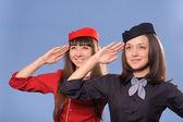 Flyg attendantes — Stockfoto