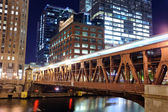 Chicago downtown at night — Stock Photo