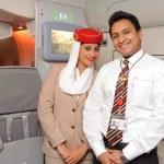Emirates crew members — Stock Photo