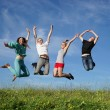 Group of jumping people — Stock Photo