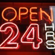 Signboard with word open 24 night — Stock Photo