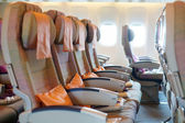Seats in airplane cabin — Stock Photo