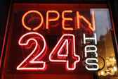 "Signboard with word ""open 24"" night — Stock Photo"