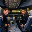 Pilots in Emirates Airbus A380 aircraft after landing — Stock Photo #48079491