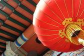 Red lantern near buddhist temple — Stock Photo