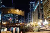 "Signboard ""Chicago riverwalk"" — Stock Photo"