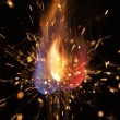 Pyrotechnic burning fire and sparks — Stock Photo