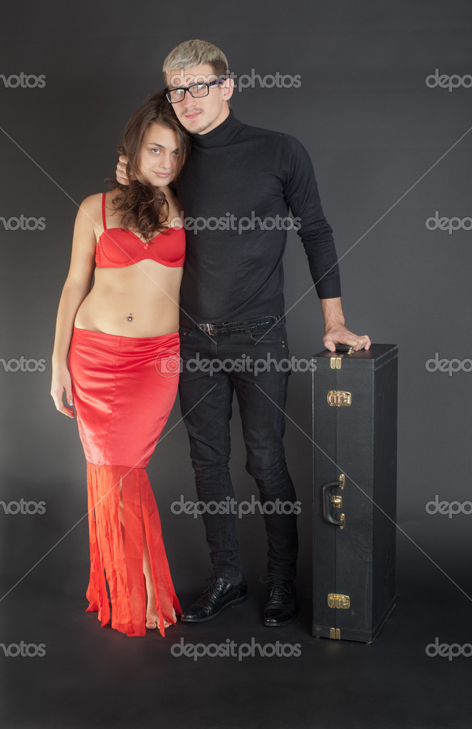 Portrait of a couple on a black background  Stock Photo #14368033