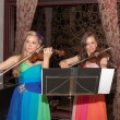Violin duet of girls — Stock Photo