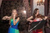 Dúo violín — Foto de Stock