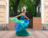 Blonde in a bright evening gown — Стоковое фото
