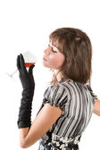 Girl with a wine glass — Stock Photo