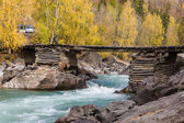 Bridge over the fast mountain river — Stock Photo