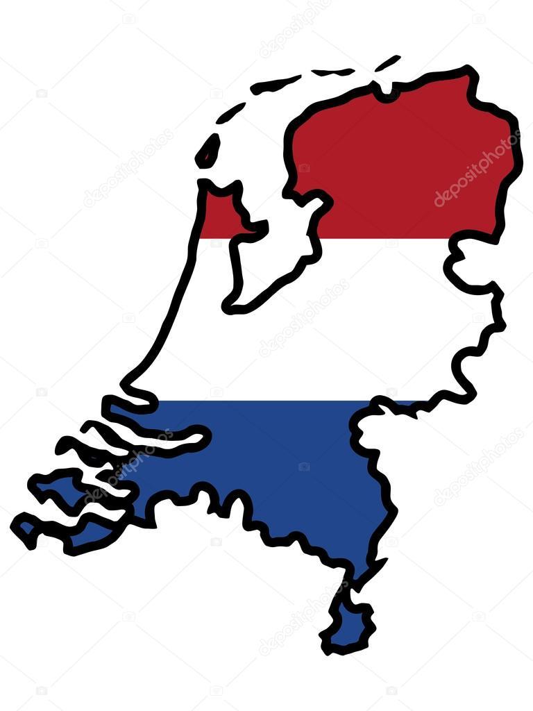 跟荷兰国旗地图的插图— vector by perysty