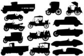 Set of silhouettes of classical cars — Stock Vector