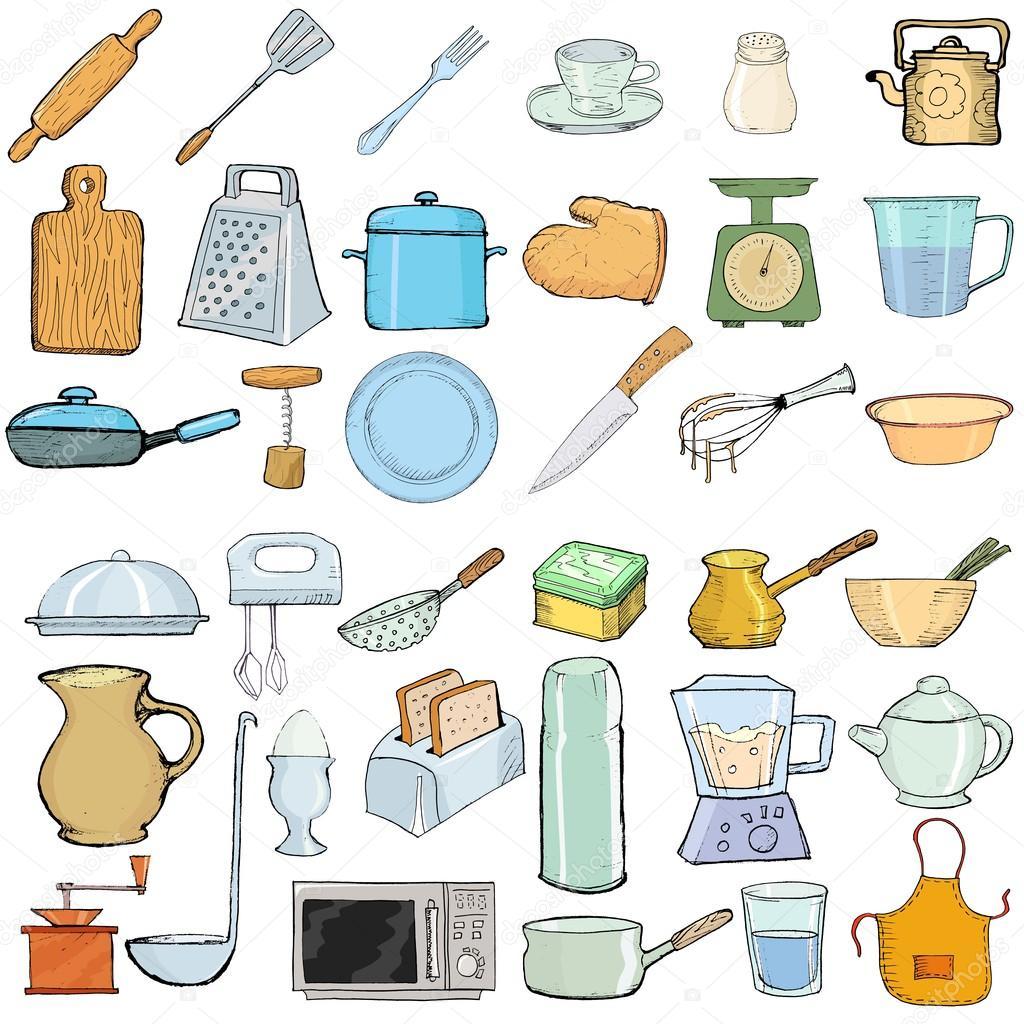 Objetos de cozinha vetor de stock perysty 17862055 - Objetos de cocina ...