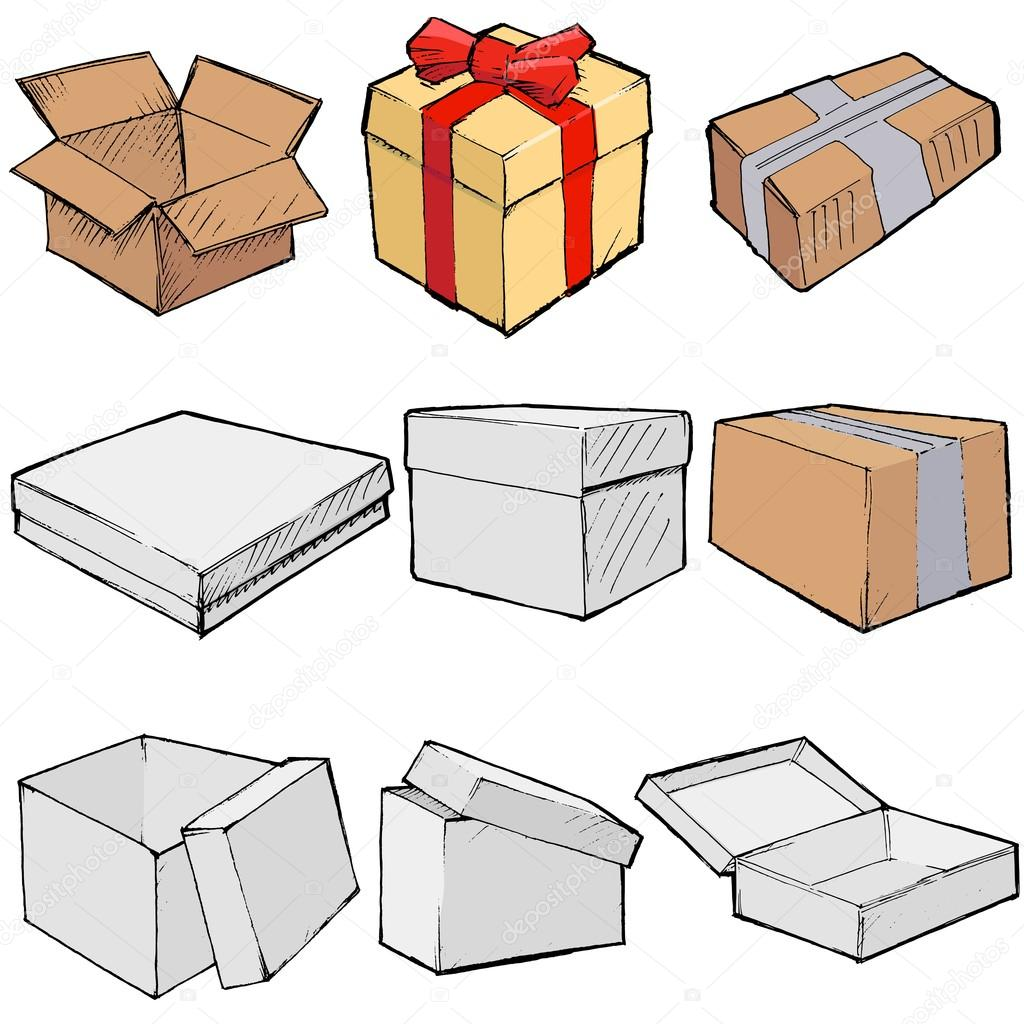 Рисунки карандашом коробка на коробке