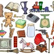 Set of different vintage objects — Stock Vector