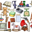 Set of different vintage objects — 图库矢量图片