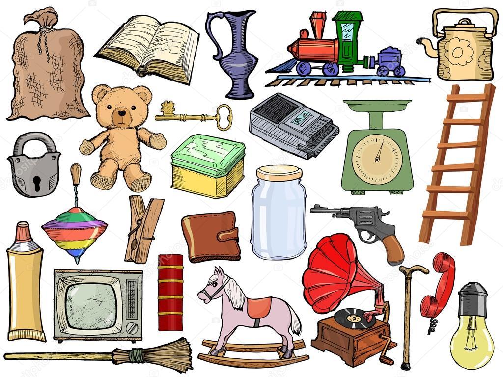 Conjunto de diferentes objetos vintage vetor de stock - Objetos vintage ...