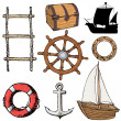 Set of marine objects — Stock Vector