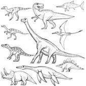 Conjunto de diferentes dinosaurios — Vector de stock