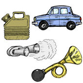 Set of automotive objects — Vector de stock