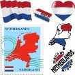 Set of different symbols in national colours of Netherlands — Stock Vector #36011229