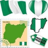 中的尼日利亚国旗颜色的不同符号集 — 图库矢量图片