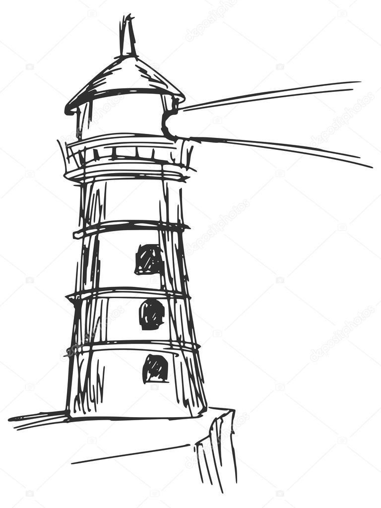 手绘, 素描, 漫画插图的灯塔– 图库插图
