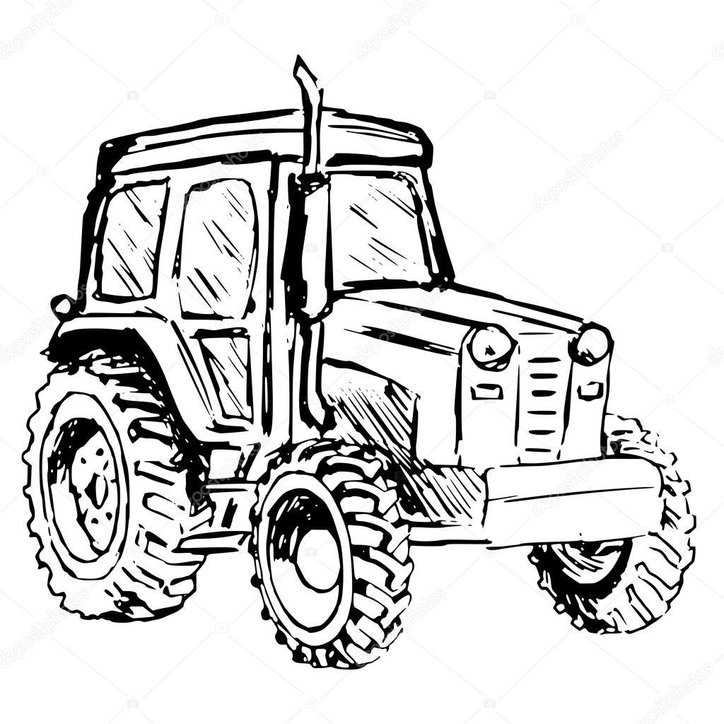 tecknad traktor