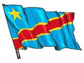 Flaga demokratycznej republiki konga — Wektor stockowy