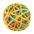 Stock Photo: Rubber band ball on white background. Symbol of globalization,