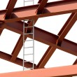 Steel beams and ladder on white background. Fragment construct — Stock Photo #26404399