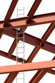 Steel beams and ladder on a white background. Fragment construct — Stock Photo