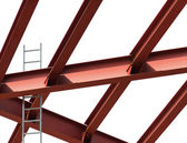 Construction site. Steel beams and ladder on a white background. — Stock Photo