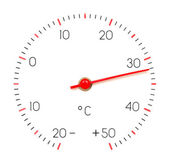 Arrow of the thermometer shows 32 — Stock Photo