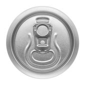 Beer can on white background, view from the top — Stock Photo