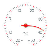 Symbol hot weather or global Warming. Arrow of the thermometer m — Stock Photo