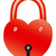Red lock in shape of heart — Stok Vektör #26456921