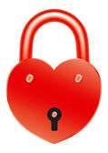 Red lock in the shape of a heart — Stock Vector