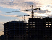 Construction site against the evening sky — Stock Photo
