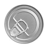 Tin can on white background, view from the top — Stock Photo