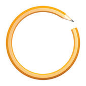 Lead pencil in the form of a circle on a white background — Stock Photo