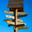 Stock Photo: Wooden signpost with towns on blue background
